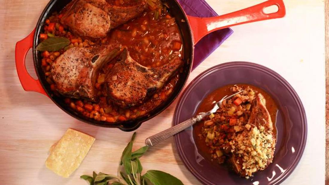 Pork Chops With White Beans And Sausage Rachael Ray Show