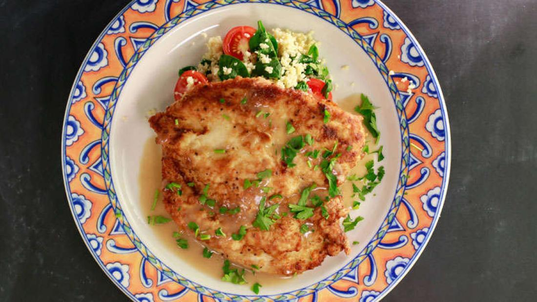 Chicken Francese With Couscous With Baby Spinach Grape Tomatoes And