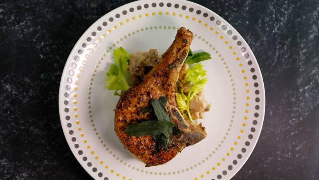 Pork Or Veal Chops With Sage And Gnocchi With Gorgonzola And Walnuts