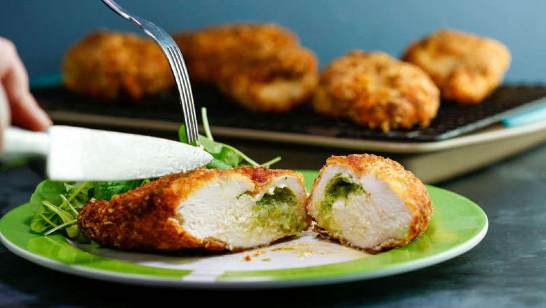 Garlicky Chicken Kiev With Herb Salad Rachael Ray Show