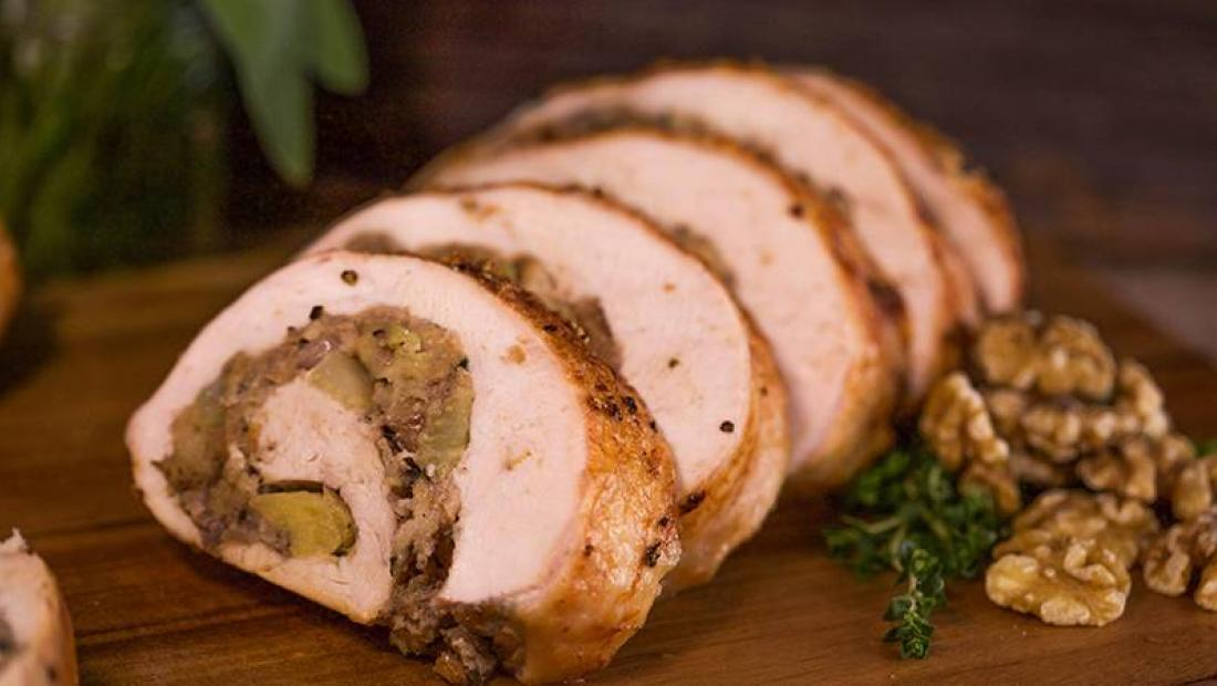 Stuffing Swirl Rolled Turkey Breast with Maple Mustard Gravy and  Cheddar-Chive Mashed Cauliflower