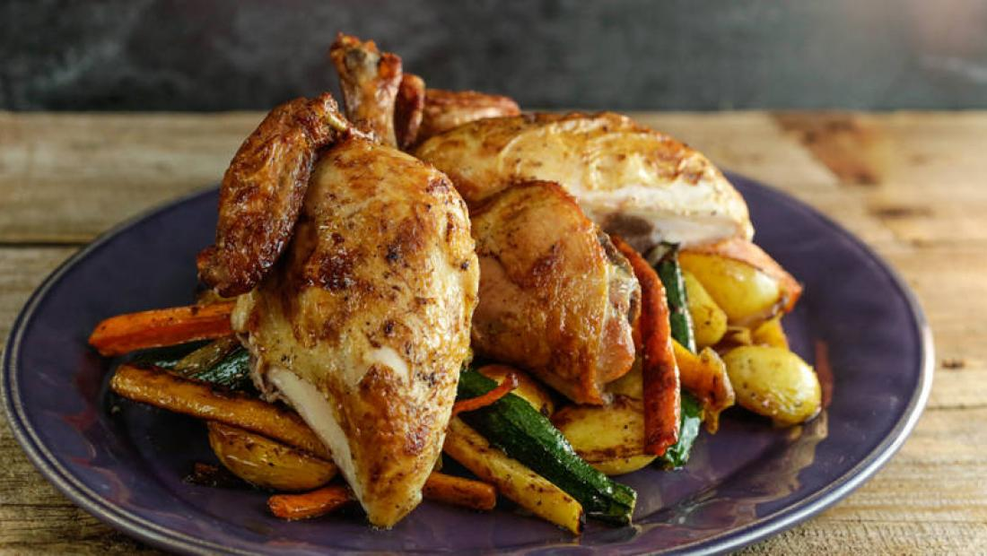 Brined Roasted Chicken And Vegetables Rachael Ray Show