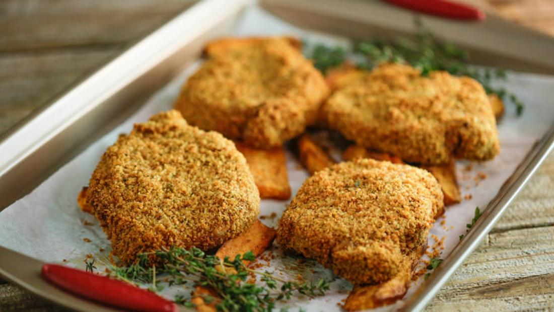 Clodagh Mckenna S Crispy Mustard Breaded Pork Chops With Sweet