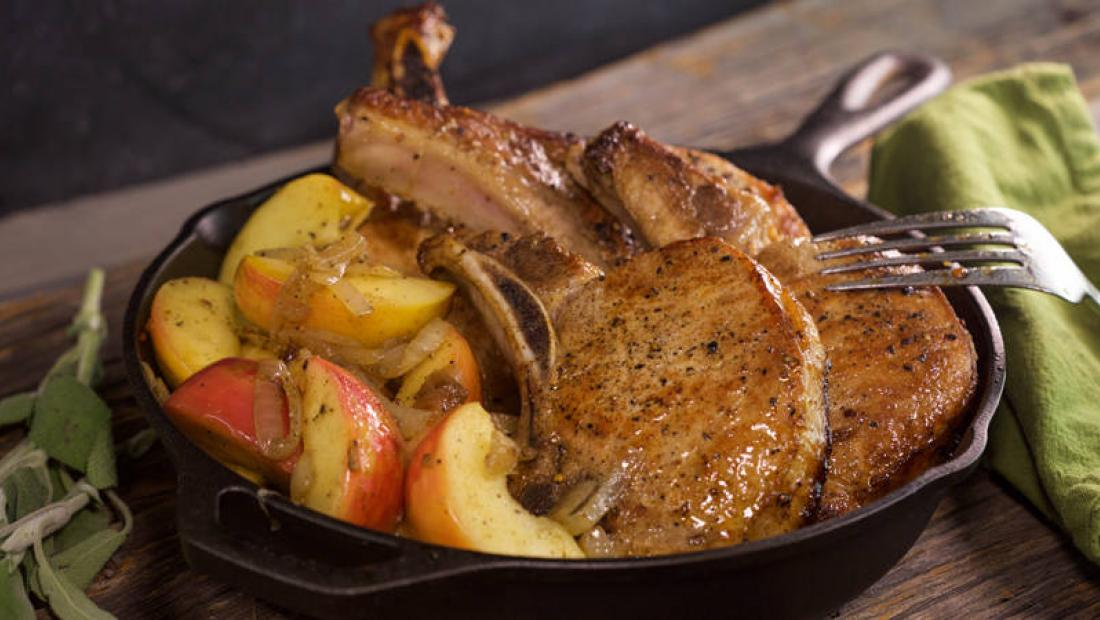 Maple Pork Chops With Brown Butter Apples And Onions Rachael Ray Show