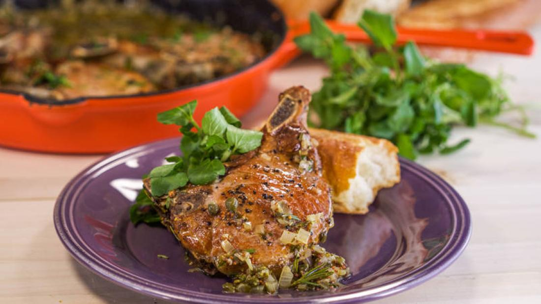 Bone In Pork Chops With Shallots Mustard Sauce And Watercress