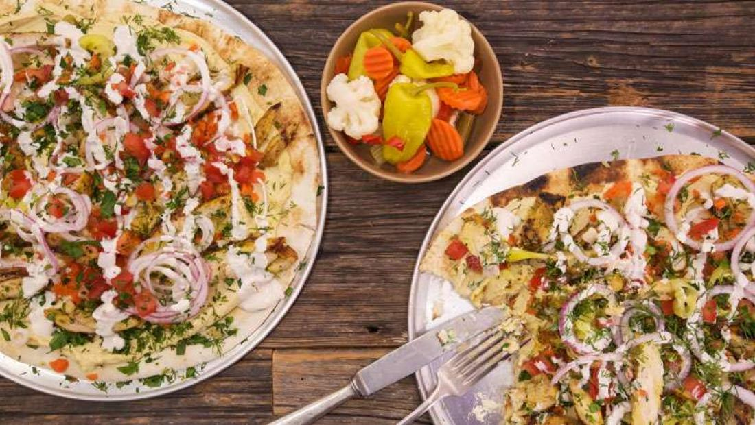 Shawarma Chicken Pizza On Naan Rachael Ray Show