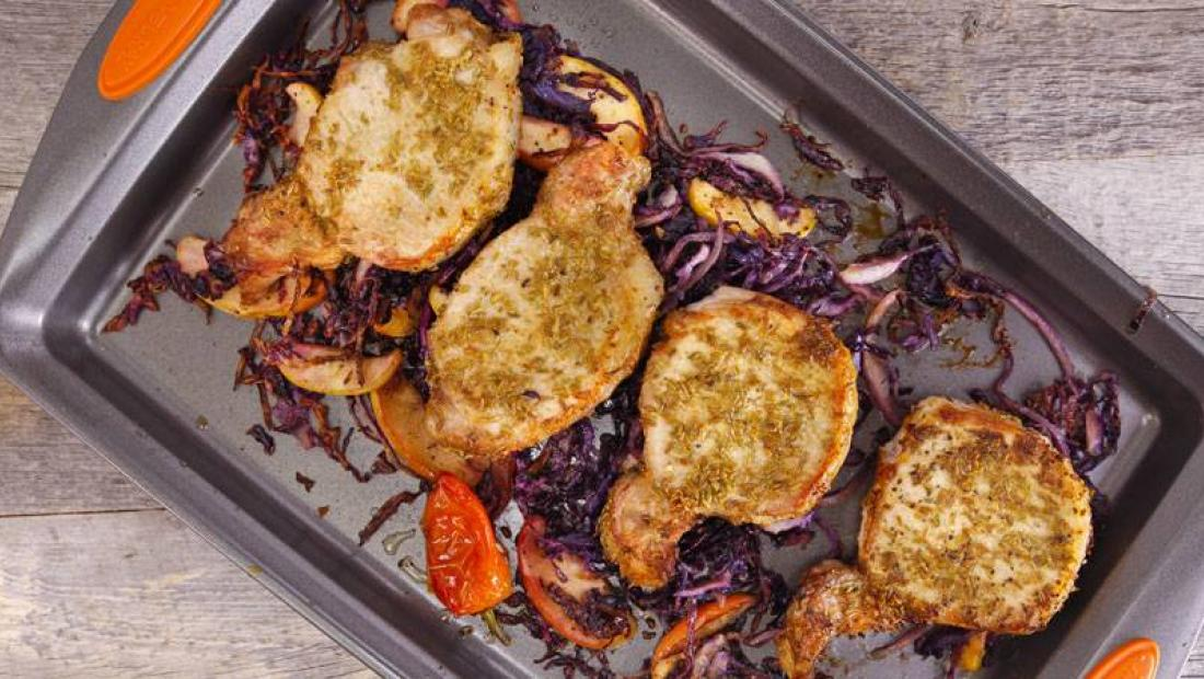 Clodagh Mckenna S Fennel Crusted Pork Chops On Roasted Apples And