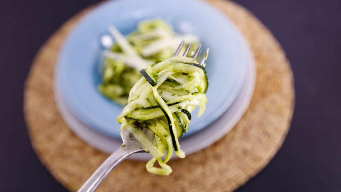 Zucchini noodles with pesto and parmesan rachael ray show zucchini noodles with pesto and parmesan forumfinder Image collections