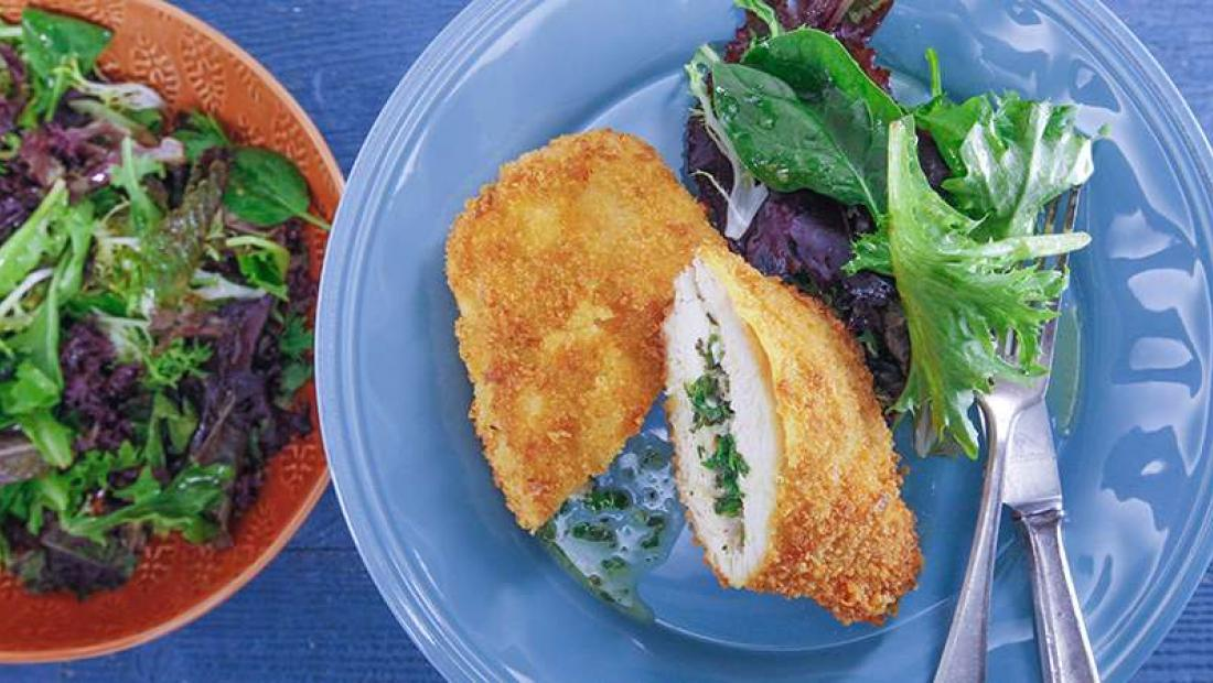 One Pan Chicken Kiev With Cheddar Crumb Rachael Ray Show