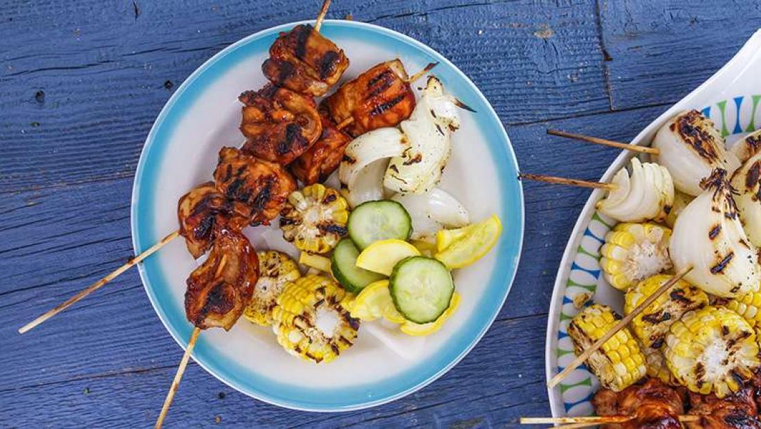 Carla Halls Bbq Chicken Kebabs Veggies Quick Pickles For Foodies
