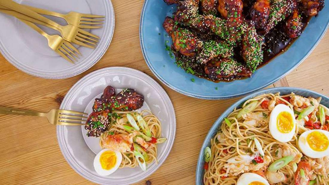 Hot And Cold Rachael S Japanese Hot And Sticky Chicken Wings And Cold N Spicy Crab Ramen