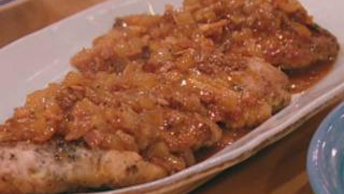 Italian Stuffed Pork Cutlets With Bacon And Onion Tomato Sauce