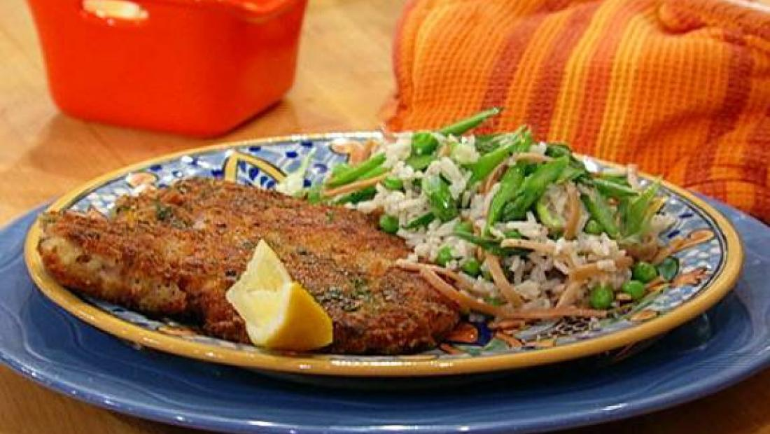 Breaded Pork Chops And Spring Vegetable Pilaf Rachael Ray Show