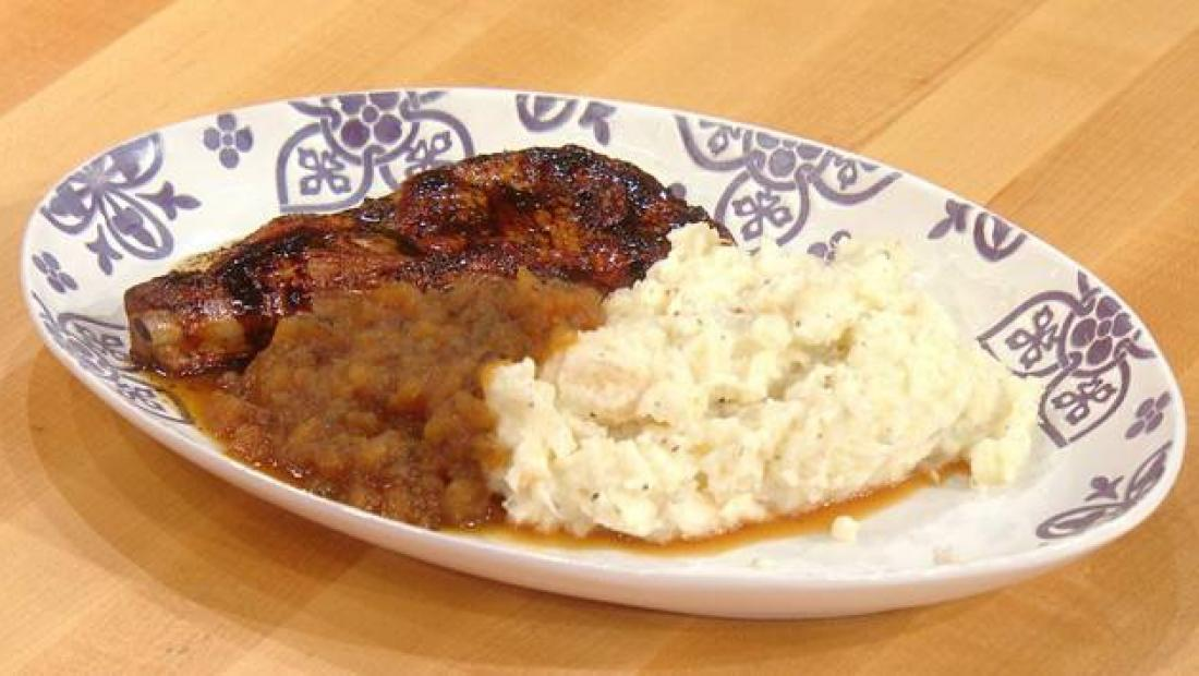 Pork Chops With Balsamic Brown Butter Applesauce With Thyme Mashed