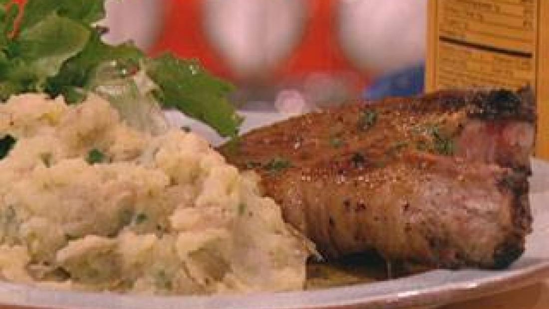 Maple Glazed Pork Chops With Scallion Smashed Potatoes And Escarole