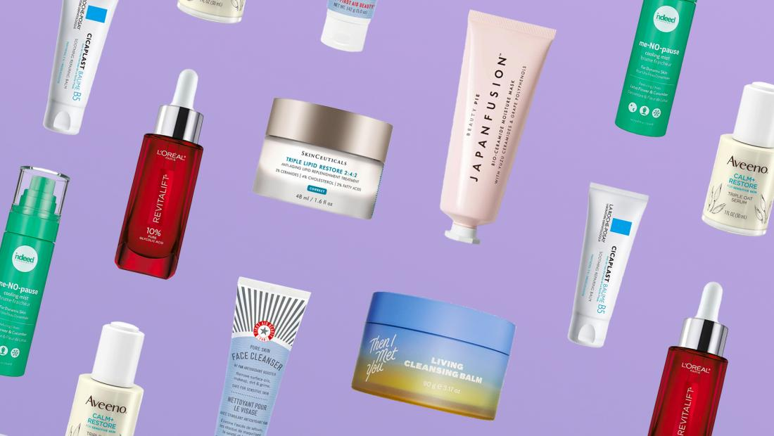 various skincare products on background