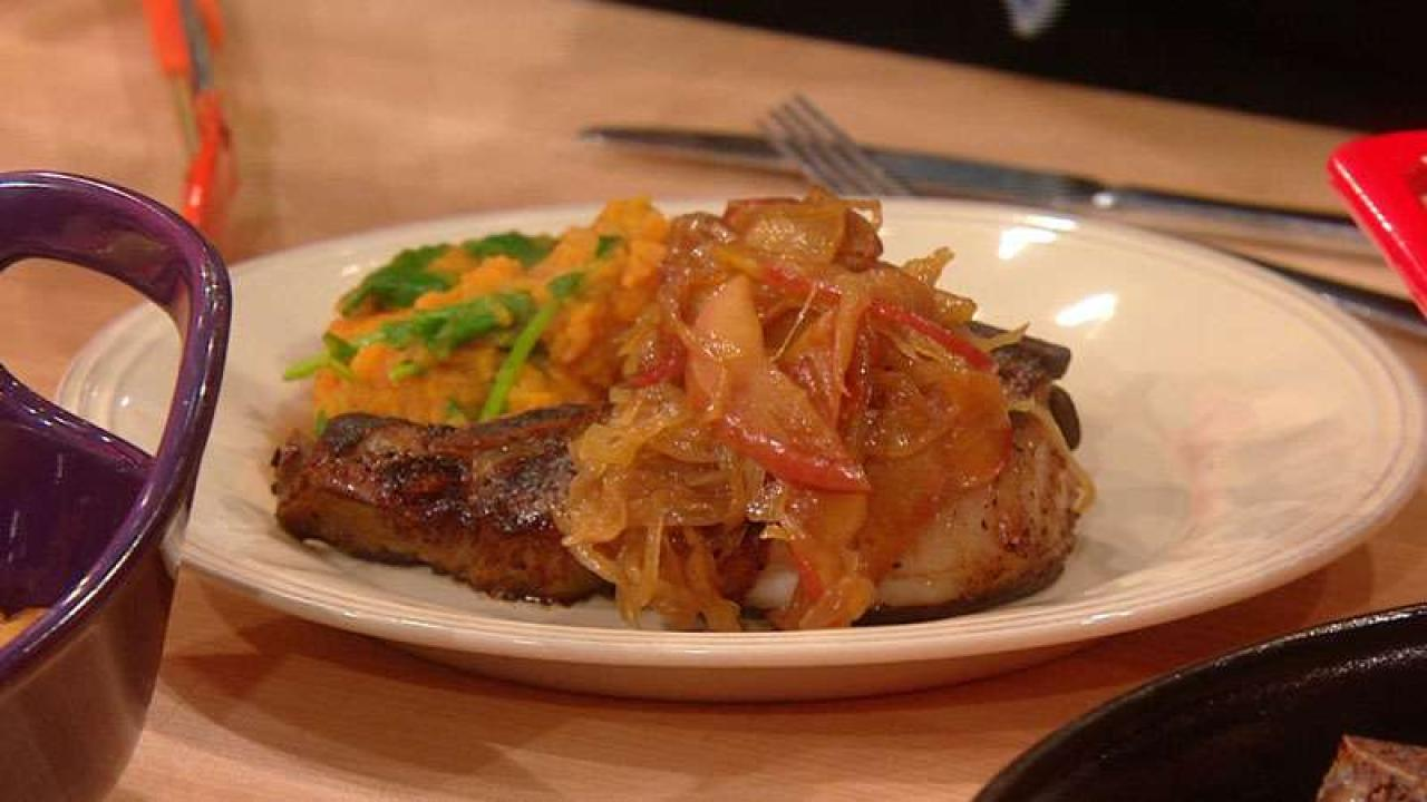 Cider Brined Pork Chops With Sweet Potatoes And Greens