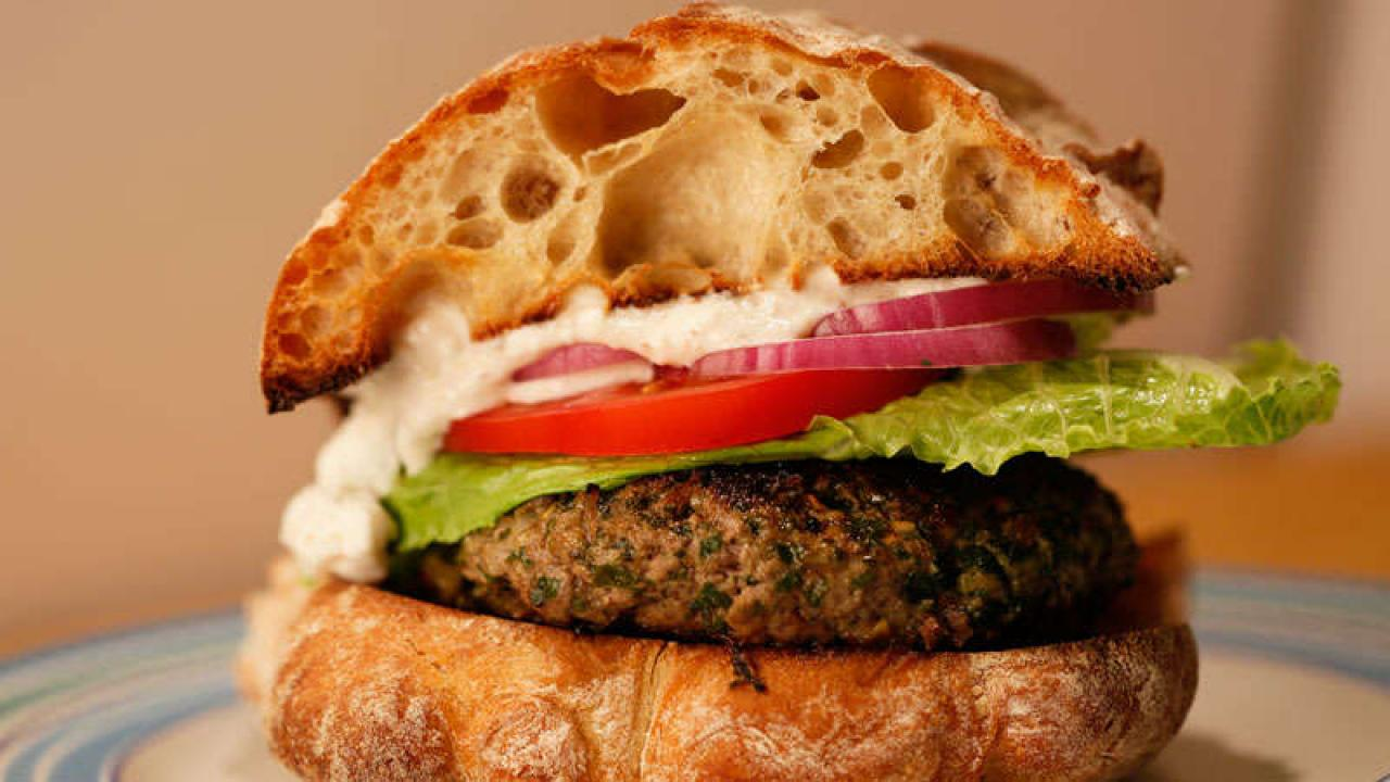 Greek Burgers With Feta Sauce Rachael Ray Show