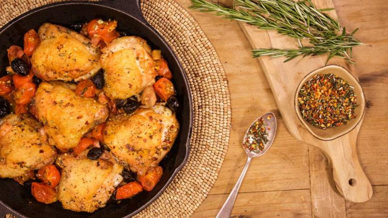 Sara Moulton S Baked Chicken Thighs With Pancetta Olives