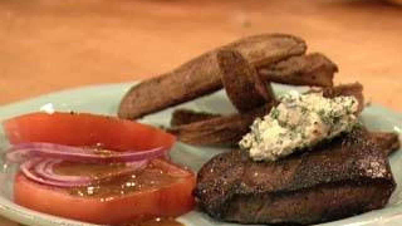 Flat Iron Steaks With Blue Cheese Butter Rachael Ray Show