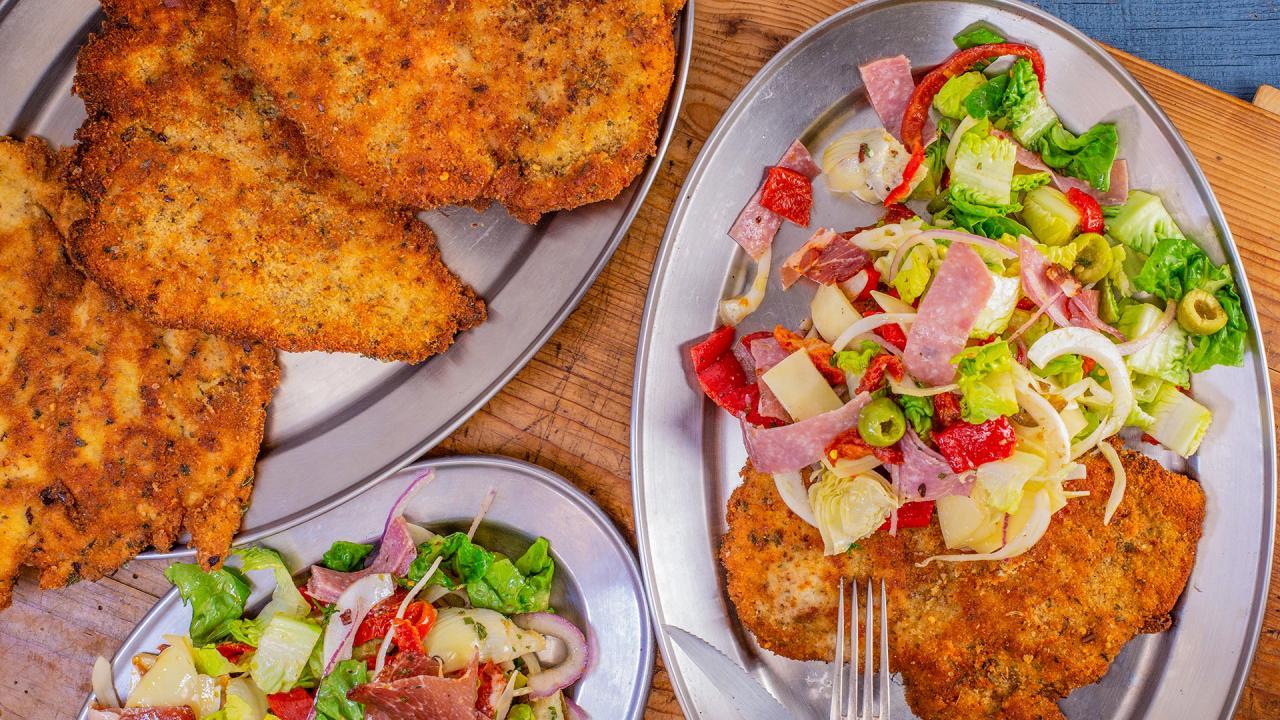 Rachael's Chicken Milanese and Antipasti Salad