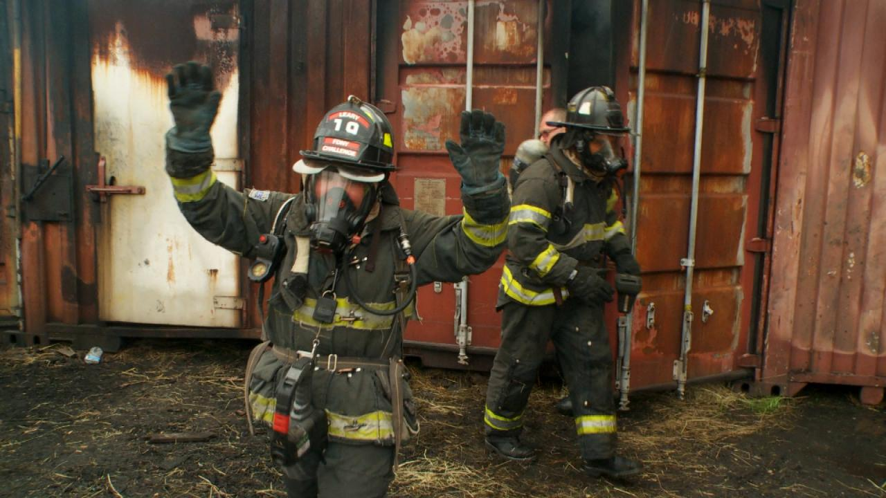See Rach Suit Up Enter A Burning Building During A Live Fire Challenge Rachael Ray Show