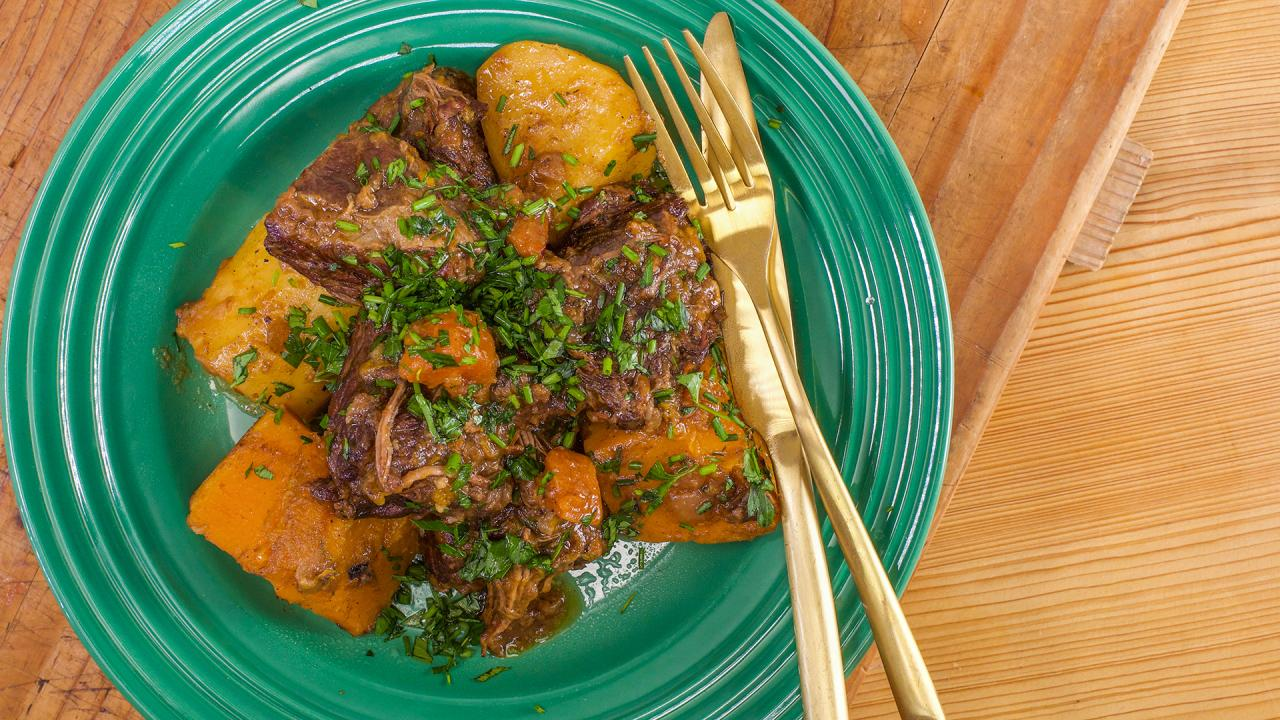 Rachael's Beef, Bacon, Butternut and Beer Stew