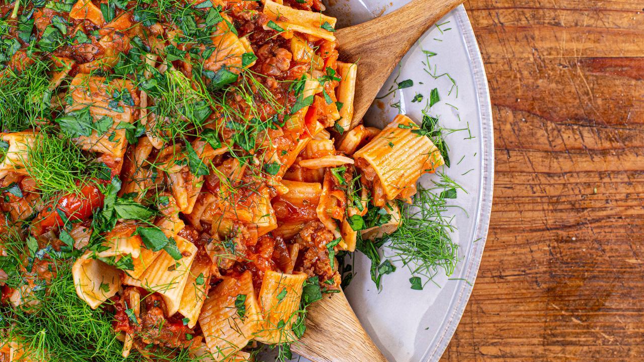 Hot and Sweet Sausage Ragu with Rosemary and Pecorino Recipe
