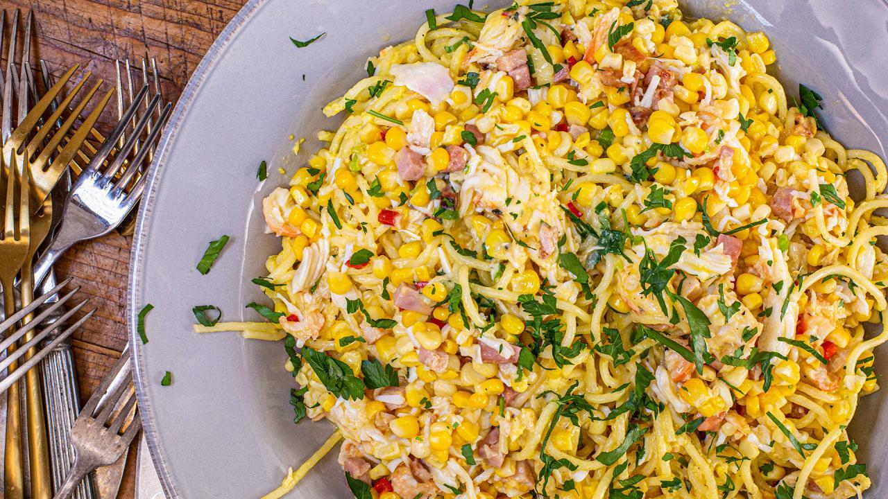 Pasta Carbonara With Corn and Crab Recipe
