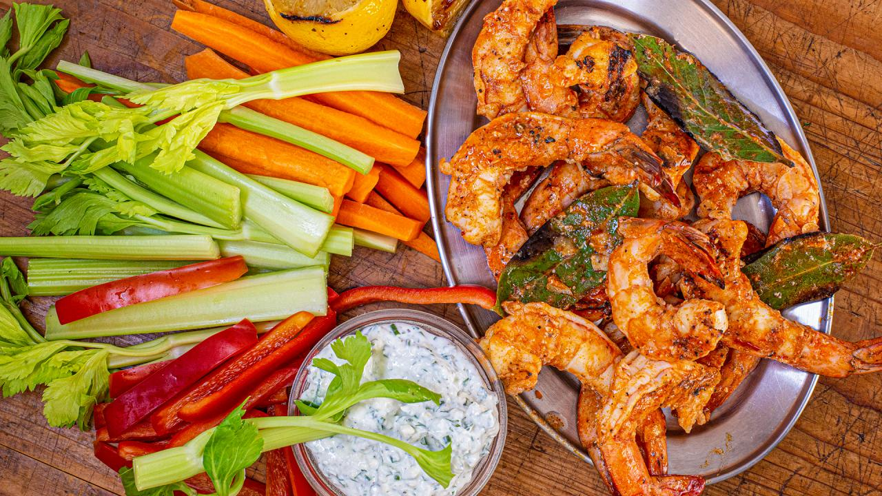 How To Make Grilled Buffalo Shrimp With Yogurt Blue-Ranch Dip By Rachael