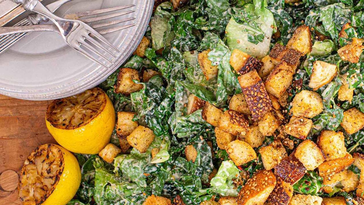 "How To Make Tahini Caesar Salad From ""Rachael Ray 50"" Cookbook"