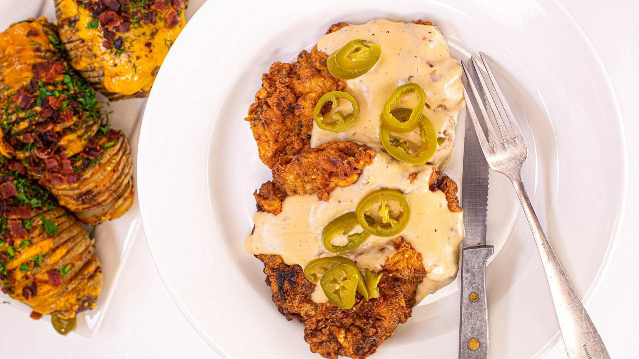 Chicken-Fried Steak and Gravy Recipe with Cheesy Hasselback Potatoes