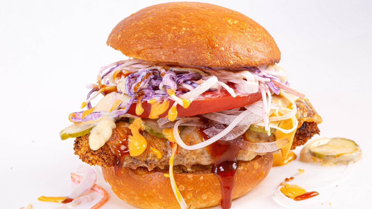 Bourbon Brown Sugar Bbq Fried Chicken Sandwich Recipe From Chicken Guy Menu Rachael Ray Show