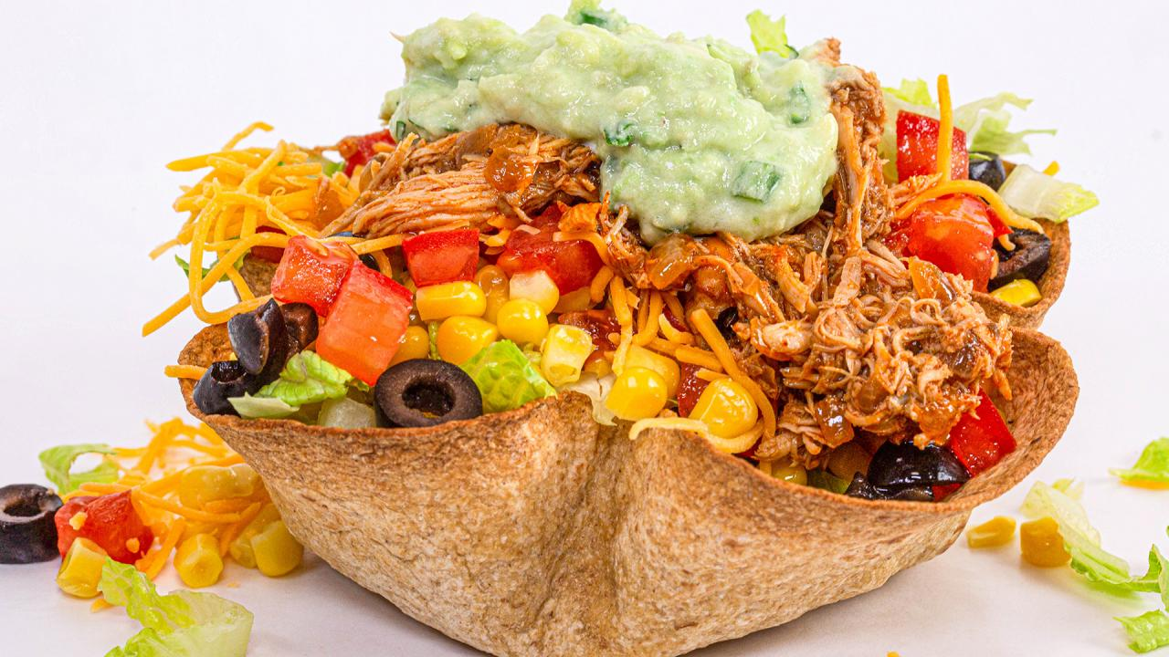Healthy Taco Salad Baked Tortilla Bowl
