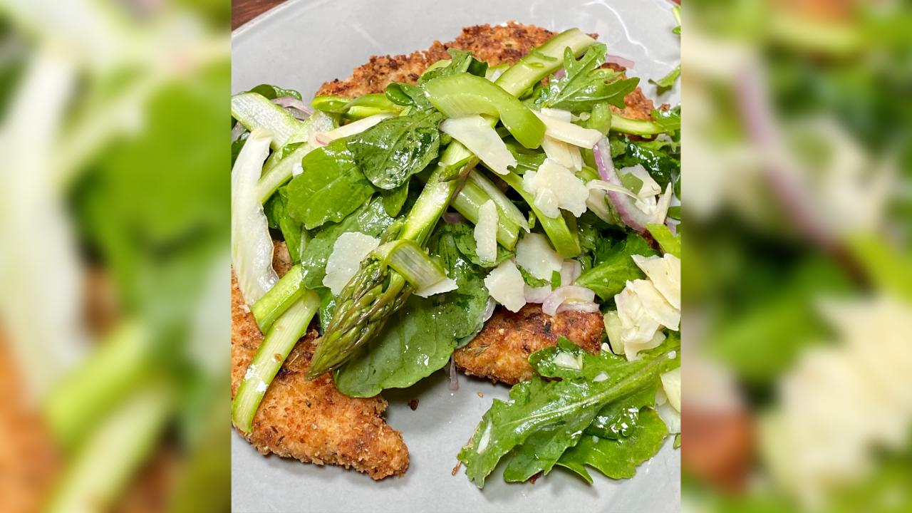 Rach's Chicken Milanese With a Crunchy Asparagus Salad On Top