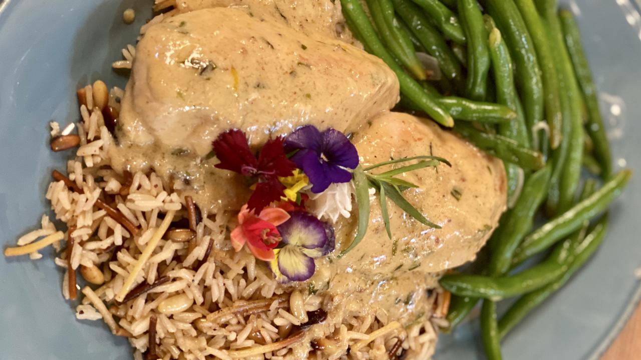 Rach's Chicken with Tarragon Cream Sauce, Green Beans + Rice Pilaf