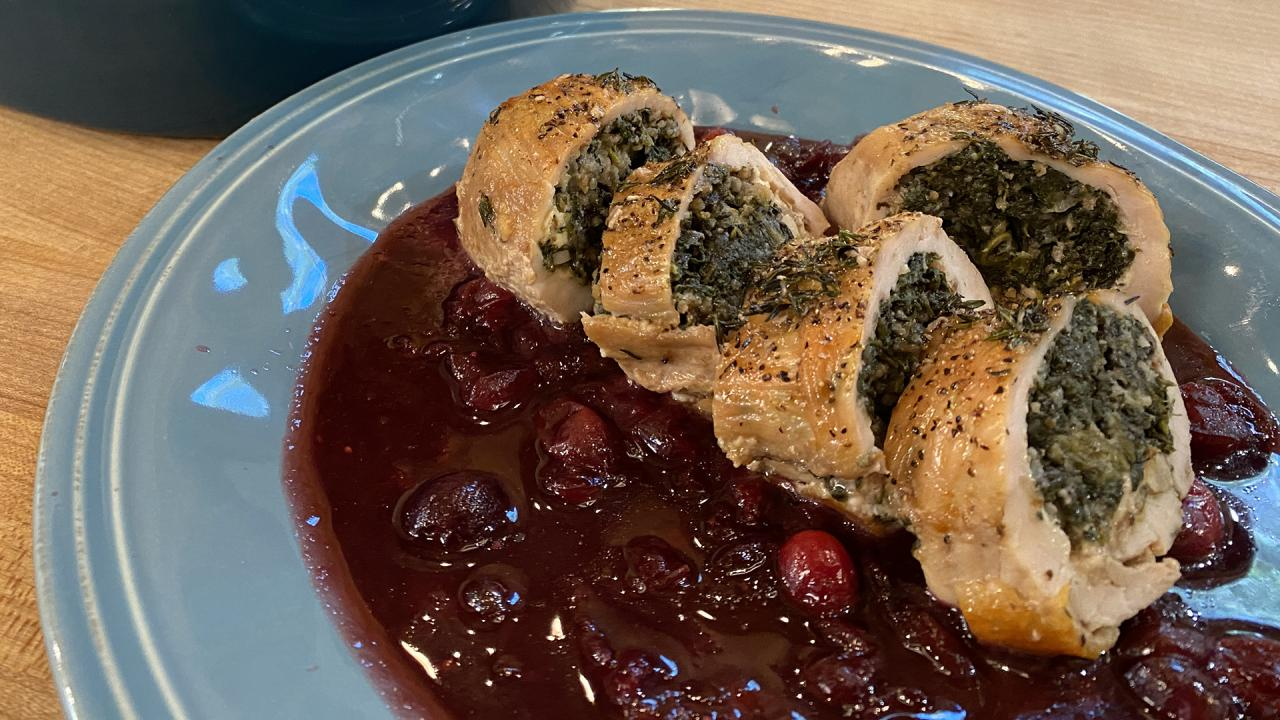 How To Make Individual Turkey Roulades With Spinach, Cheese & Spiced Red Wine Cranberry Sauce | Rachael Ray