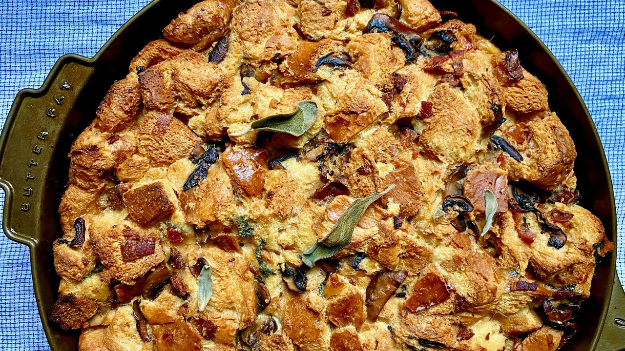 Savory Bread Pudding: Maple-Bacon-Mushroom | Alternative to Stuffing/Dressing | Gail Simmons