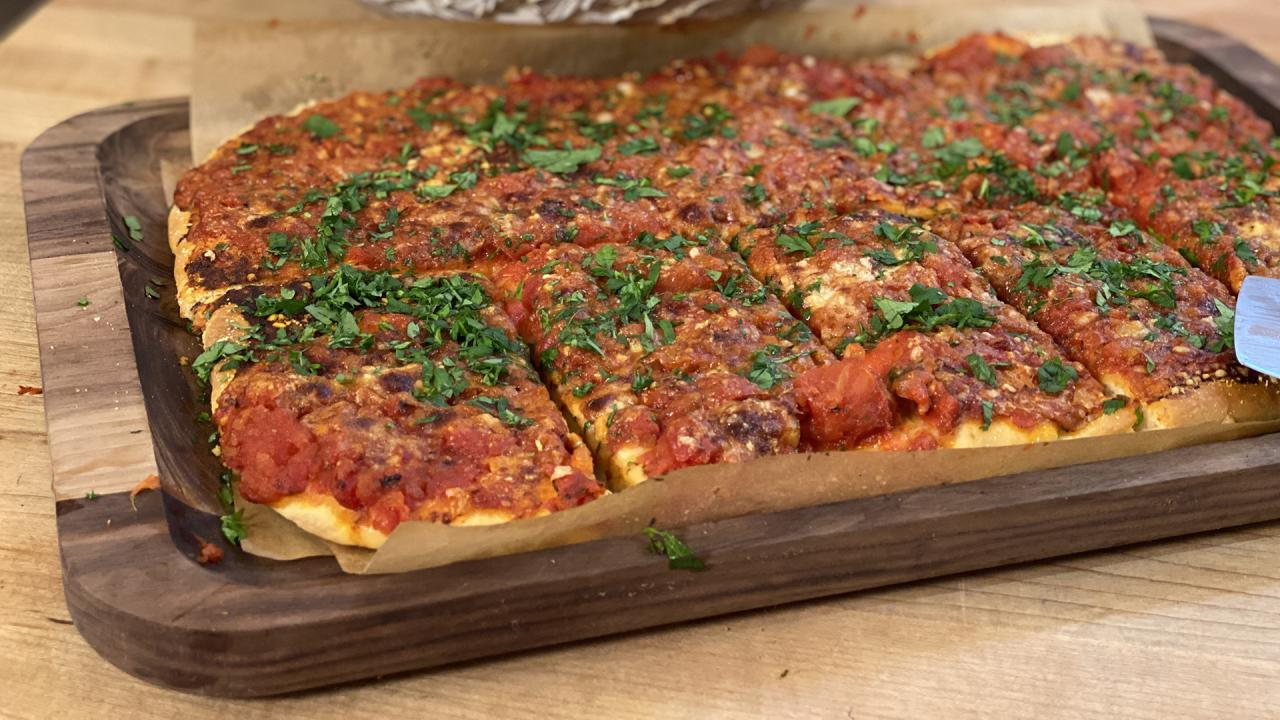 Sheet Pan Utopia: Rach's Utica Tomato Pie