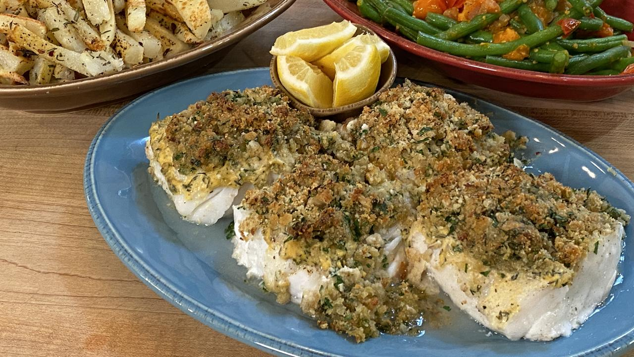 How To Make Baked Fish with Garlic-Cheese Breadcrumbs | Rachael Ray