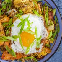 Chicken Stir-Fry With Bacon & Egg Fried Rice