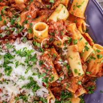 Rachael's Mushroom, Eggplant And Harissa Raqu with Rigatoni
