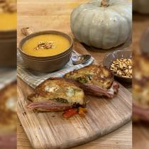 Pumpkin Soup and Muffaletta Grilled Cheese