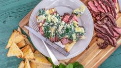 Rachael's Sliced Steak with Creamed Spinach & Artichokes