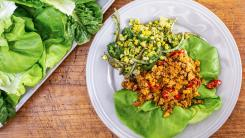 Rachael's Hot Honey 'n' Peanut Chicken Lettuce Wraps and Griddled Corn