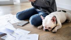 Bills laid out on floor to start tackling debt