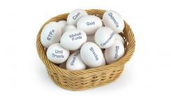 Basket of eggs labeled with financial terms