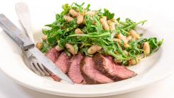 Flank Steak with Walnut-Scallion Pesto Bean Salad