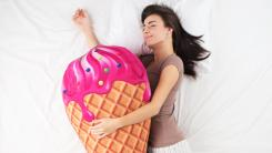 woman sleeping ice cream
