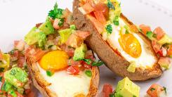 Eggs in Crispy Potato Skins with Avocado Salsa